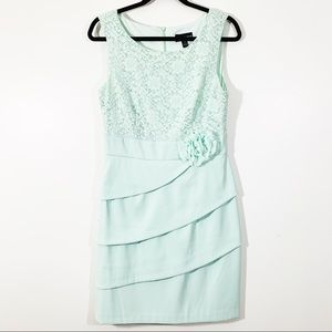 Connected Sz 10 Sleeveless Tiered Scoop Sheath